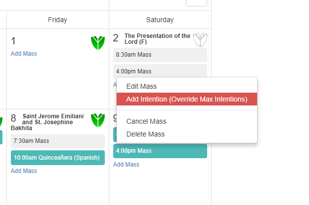 Mass Intentions Online Software Calendar