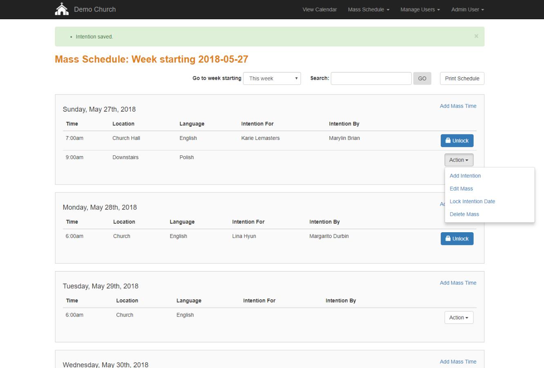Create Weekly Mass Schedule