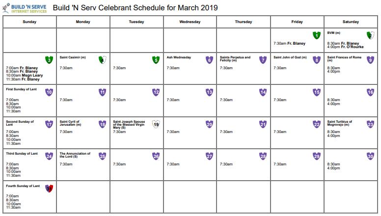 Mass Intentions Online Software Calendar
