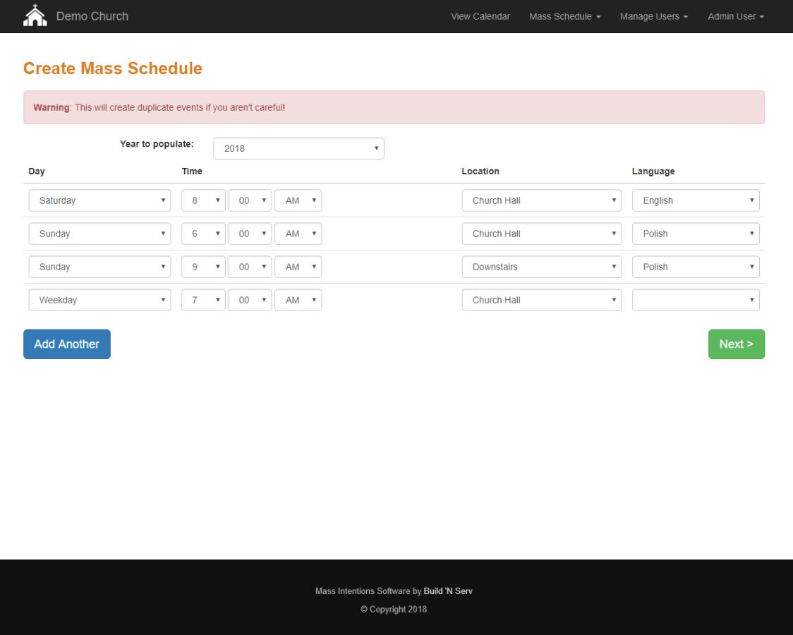 Create an Annual Mass Schedule